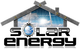 Solar Energy - Ruler in the Shape of House. Metal ruler in the shape of house photo with text Solar Energy 3D illustration and solar panels inside. Isolated on a Royalty Free Stock Photo