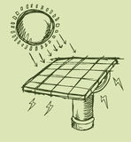Solar Energy Sketch Vector illustration Royalty Free Stock Images