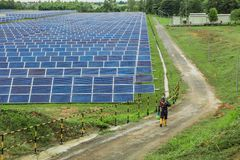 Solar energy. Solar cell tracking systems, Solar cell is a clean and energy for free use, Male employees are walking to cutting grass in a solar cell factory Stock Photography