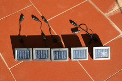Solar energy. Some solar panels for power stock photography