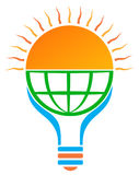 Solar energy sun light bulb logo. Solar energy concept. sun light bulb logo for save eco energy with globe Stock Image