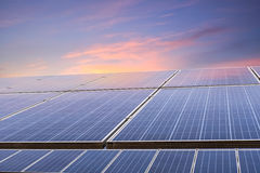 Solar energy with sunset glow Royalty Free Stock Photo