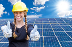 Solar energy, thumb up ! Stock Image