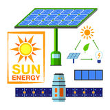 Solar energy vector set. Stock Photography