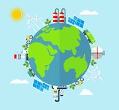 Solar energy, wind energy. Dirty city, factories, air pollution, landfill. Earth Day. Ecology design concept with air, water and soil pollution. Flat icons Stock Images