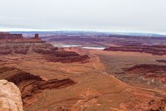Solar evaporation ponds. Used in the potash mining industry seen from a viewpoint in Dead Horse State Park stock photography