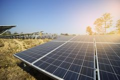 Solar farm green energy from sun light. Show a lot of solar cell plate Royalty Free Stock Photo