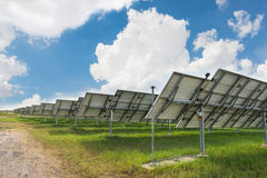 The solar farm for green energy in Thailand Stock Photos
