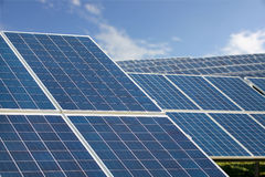 Solar Farm Park. Panels Blue Sky, Sustainable Renewable Energy Stock Images