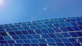Solar Farm Park. Panels Blue Sky, Sustainable Renewable Energy Royalty Free Stock Image