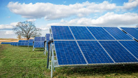 Solar Farm Park. Panels In Green Field With Blue Sky& Nature Stock Photography