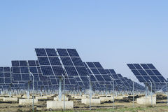 Solar panels array. Photovoltaic panels for harvesting solar energy stock photo