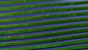 Solar farm producing clean renewable energy. Aerial landscape of solar panels. Solar farm producing clean renewable energy. Aerial landscape of rows of solar stock video