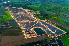 Solar farm solar system. Aerial photo solar farm solar panels Royalty Free Stock Images