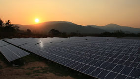Solar farm with sunrise royalty free stock images