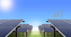solar farm and wind turbine Royalty Free Stock Photography