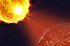 Solar flare illustration. Solar flare and Earth showing Europe in night, 3D illustration. Elements of this image furnished by NASA Royalty Free Stock Images