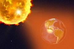 Solar flare illustration. Solar flare and Earth showing South America, 3D illustration. Elements of this image furnished by NASA Stock Image