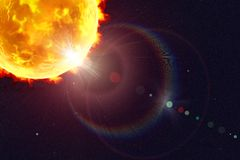 Solar flare illustration. Solar flare, 3D illustration. Astronomy beautiful background Stock Images