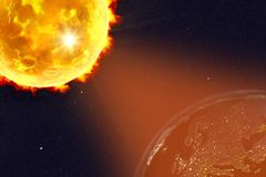 Solar flare illustration. Solar flare and Earth showing Europe in night, 3D illustration. Elements of this image furnished by NASA Stock Photos