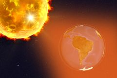 Solar flare illustration. Solar flare and Earth showing South America, 3D illustration. Elements of this image furnished by NASA Royalty Free Stock Images