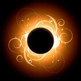 Solar flare swirl design. Illustration of solar flare with swirls in orange and brown Stock Images