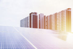 Solar Future Energy. Golden light, solar Future Energy, Big Salsa The backdrop is a modern and elegant condo Stock Image