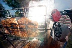 Solar-gegrilltes Schweinefleisch von einem Glas Stockbild