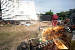 Solar-gegrilltes Schweinefleisch von einem Glas Stockfotografie
