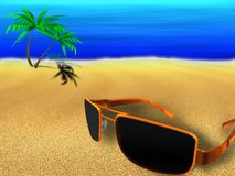 Solar glasses. On a sea beach on a resort Royalty Free Stock Photography