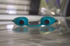 Solarium glasses. Green solarium glasses Royalty Free Stock Image