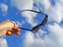 Solar glasses and sky 2 Stock Image