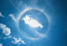 Solar Halo. Solar / Sun Halo found during a hiking trip on a sunny day in Valle Sagrado, peru, a 40 min. ride from Cuzco, peru Royalty Free Stock Photo
