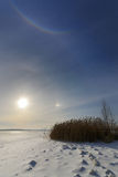 Solar halo. In the morning on the river Dnepr Dnepropetrovsk Ukraine Royalty Free Stock Photo