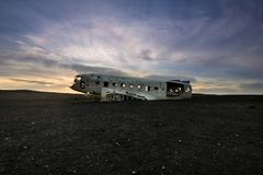 Solar halo over crashed DC-3 Airplane in Iceland Stock Photos