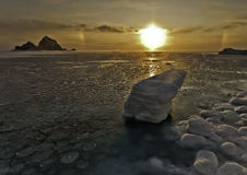Solar halo sea ice. Halo (optical phenomenon), Okhotsk Sea, Cape Red, air temperature - 33 degrees Celsius Stock Image