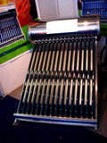 Solar Heater. A Solar water heater displayed in a science exhibition made of newly designed vaccum rods and tubes instead of the normal panel solar cells Royalty Free Stock Images