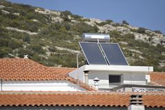 Solar heating system. Hot water solar heating system, Greece stock photo