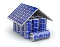 Solar home battery concept Stock Images