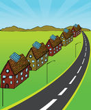 Solar Homes. A street of homes all powered by solar energy. Scalable vector illustration stock illustration
