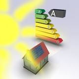 Solar house. With energy chart. Concept image for alternative energy, green architecture, environment protection and saving themes Stock Photography