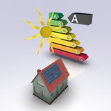 Solar house. With energy chart. Concept image for alternative energy, green architecture, environment protection and saving themes Royalty Free Stock Photos