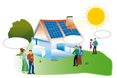 Solar house. Couples with bubble dialogue for a real estate purchase a solar home Royalty Free Stock Photography