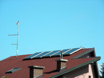 Solar house. Modern house with solar energy cell on the roof Stock Images
