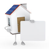 Solar house figure. Hold a white billboard Stock Image