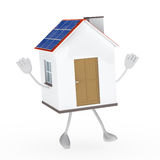 Solar house figure. Jump and wave hands Stock Photo