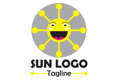 Solar house logo. A child friendly logo that shows a smiling, thrilled sun which smiles. It is done in gray and yellow color and can be used in the area of Royalty Free Stock Photography