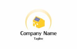 Solar house logo. A logo of a house with solar panel on it`s roof with a sun like semicircle around it Royalty Free Stock Images