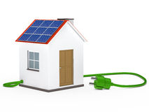Solar house with plug Royalty Free Stock Image