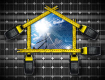 Solar House Project with tape Measures Stock Photos